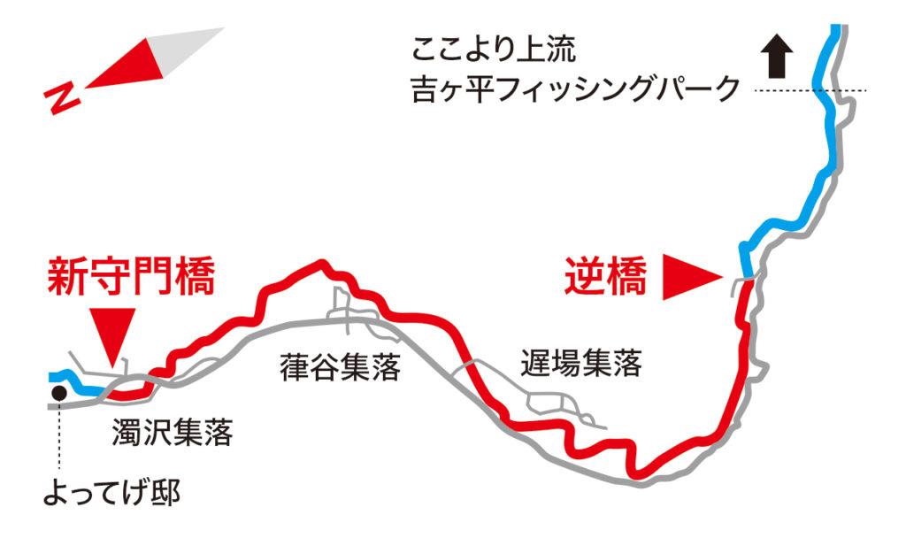 早水地内新守門橋〜遅場地内逆橋までの区間MAP